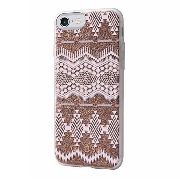 Guess Aztec Soft TPU Case дизайнерски термополиуретанов кейс за iPhone 8, iPhone 7, iPhone 6S, iPhone 6 (прозрачен златист)