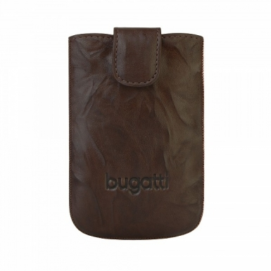 Bugatti SlimCase Unique Leather Case L - кожен калъф за Motorola Defy, Acer Liquid S100, BlackBerry 9800 Torch, Bold 9000, Bold 9700 и др. (кафяв)
