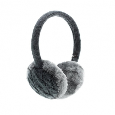 KitSound On-Ear Chunky Ink Knit Audio Earmuffs - ушанки с вградени слушалки с 3.5 мм аудио жак за iPhone и мобилни устройства (сив)