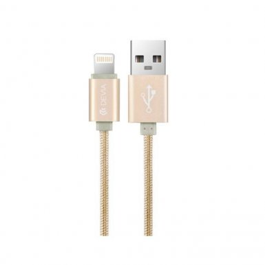 Devia Fashion MFI Lightning Data Cable 1.2m. - сертифициран плетен lightning кабел (120 см.) за iPhone, iPad и iPod с Lightning вход (златист)