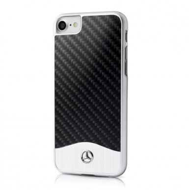 Mercedes-Benz Carbon Fiber Hard Case - дизайнерски карбонов кейс за iPhone 8, iPhone 7 (карбон-сребрист)