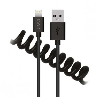 Jivo Coiled Lightning Cable - сертифициран разгъващ се Lightning кабел (120 см.) за iPhone, iPad и iPod с Lightning (черен)