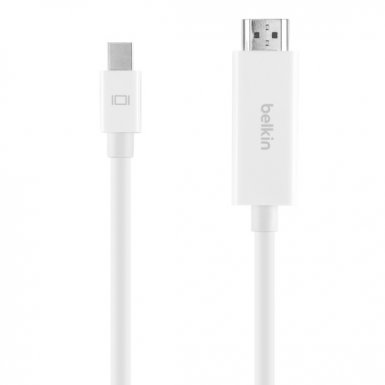 Belkin 4K Mini DisplayPort to HDMI Cable - кабел Mini DisplayPort към HDMI с поддръжка на 4К за MacBook, iMac и Mac mini (бял)