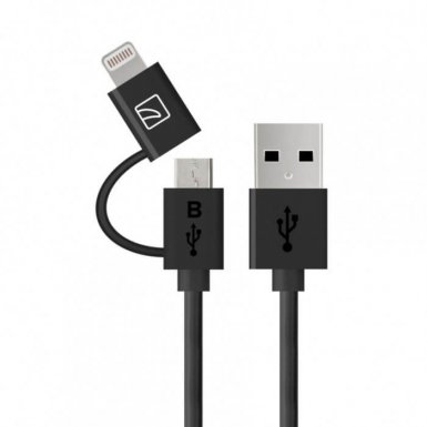 Tucano 2-in-1 Lightning and MicroUSB Cable - USB кабел 2в1 за Lightning и MicroUSB устройства (черен)