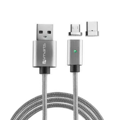 4smarts Magnetic USB Cable GravityCord Cable + USB-C and Micro-USB Connectors - кабел с магнитен накрайник с USB-C и MicroUSB конектори (сив)