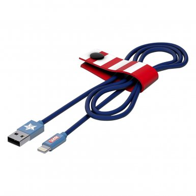 USB Tribe Marvel Captain America Lightning Cable - сертифициран Lightning кабел за iPhone, iPad и iPod с Lightning  (120 см)