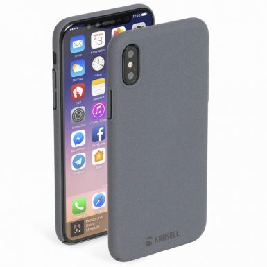 Krusell Sandby Cover - поликарбонатов кейс за iPhone XS, iPhone X (черен)