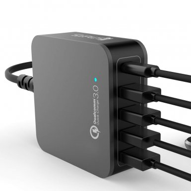 4smarts Charging Station VoltPlug Qualcomm Quick Charge 3.0 & USB Type-C 40W (12A)- захранване с 4хUSB изхода и USB-C изход