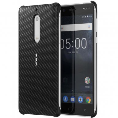 Nokia Carbon Fibre Design Case CC-803 - поликарбонатов кейс за Nokia 5 (черен)
