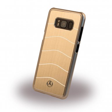 Mercedes-Benz Wave VIII Brushed Aluminium Hard Case - дизайнерски алуминиев кейс за Samsung Galaxy S8 (златист)