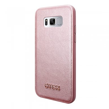 Guess Iridescent Leather Hard Case - дизайнерски кожен кейс за Samsung Galaxy S8 (розов)