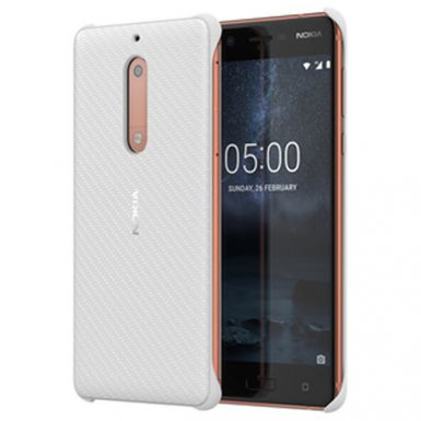 Nokia Carbon Fibre Design Case CC-803 - поликарбонатов кейс за Nokia 5 (бял)