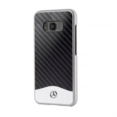 Mercedes-Benz Wave V Carbon Fiber Hard Case - дизайнерски карбонов кейс за Samsung Galaxy S8 (черен-сребрист)