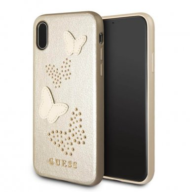Guess Studs and Sparlkes Butterfies Leather Hard Case - дизайнерски кожен кейс за iPhone X (бежав)