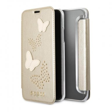 Guess Studs and Sparlkes Butterfies Book Case - дизайнерски кожен калъф, тип портфейл за iPhone X (златист)