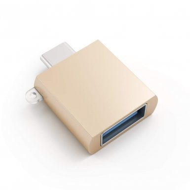 Satechi USB-C to USB Female Adapter - USB-A адаптер за MacBook и компютри с USB-C порт (златист)