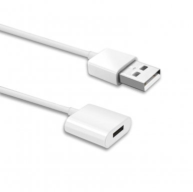 TechMatte Apple Pencil Cable (90см.) - зареждащ кабел (USB към женски Lightning) за Apple Pencil (бял)