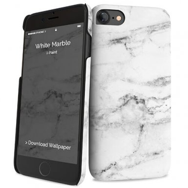 iPaint White Marble HC Case - дизайнерски поликарбонатов кейс за iPhone 8, iPhone 7 (бял)