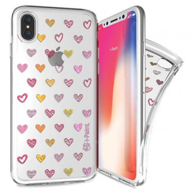 iPaint Glamour Hearts Case - дизайнерски TPU кейс за iPhone XS, iPhone X