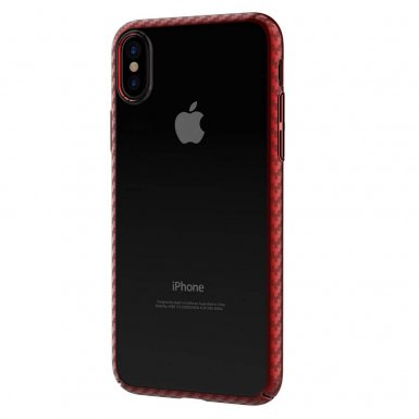 Comma Legende Case - поликарбонатов кейс за iPhone XS, iPhone X (прозрачен-червен)