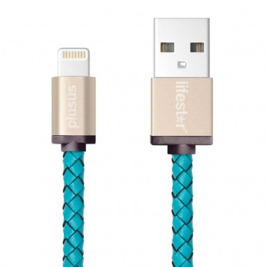 PlusUs LifeStar Handcrafted Lightning Cable - ръчно изработен сертифициран Lightning кабел за iPhone, iPad и iPod (25см.) (светлосин-златист)
