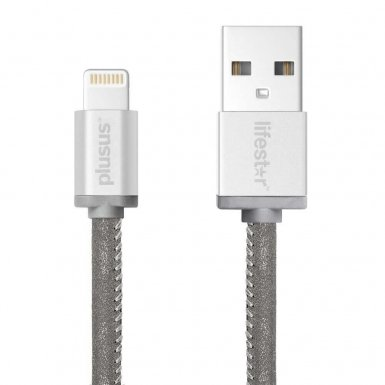 PlusUs LifeStar Handcrafted Lightning Cable - ръчно изработен сертифициран Lightning кабел за iPhone, iPad и iPod (25см.) (сребрист)