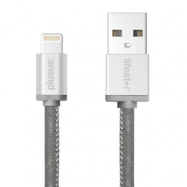 PlusUs LifeStar Handcrafted Lightning Cable - ръчно изработен сертифициран Lightning кабел за iPhone, iPad и iPod (1 м.) (сребрист)