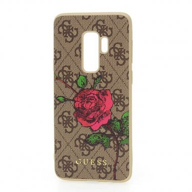 Guess Flower Desire Leather Hard Case - дизайнерски кожен кейс за Samsung Galaxy S9 Plus (кафяв)