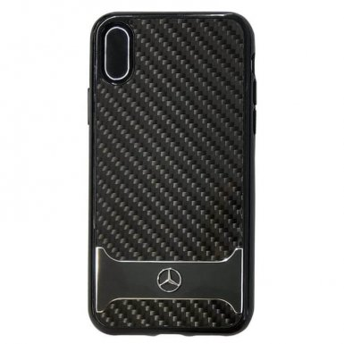 Mercedes-Benz Dynamic Carbon Fiber Hard Case - дизайнерски карбонов кейс за iPhone X (черен)