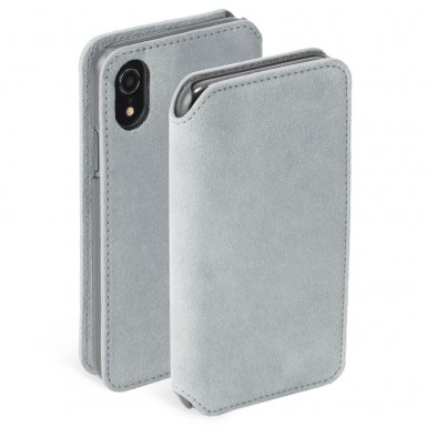 Krusell Broby 4 Card Slim Wallet Case - велурен калъф, тип портфейл за iPhone XR (сив)