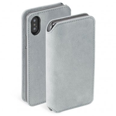 Krusell Broby 4 Card Slim Wallet Case - велурен калъф, тип портфейл за iPhone XS Max (сив)