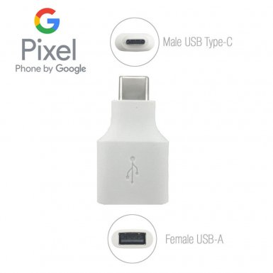 Google Pixel USB-C to USB-A Adapter - USB-C към USB-A адаптер за устройства с USB-C (бял) (bulk)