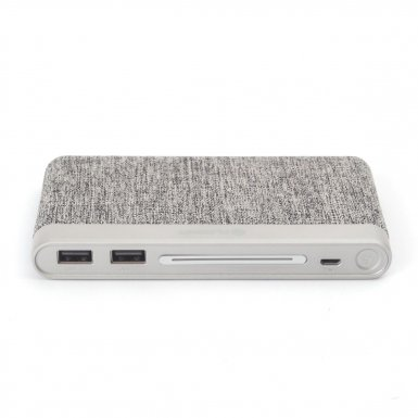 Platinet Power Bank 10000 mAh Polymer Fabric Braided - външна батерия с 2 USB изходa за таблети и смартфони (светлосив)