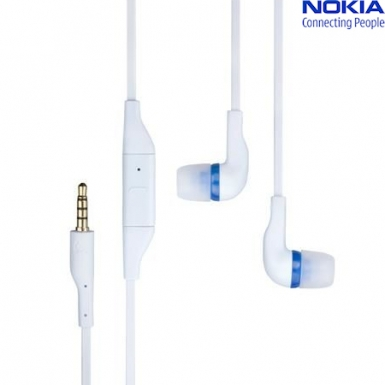 Nokia Headset WH-205 Stereo - слушалки с микрофон за мобилни телефони Nokia (bulk package) (бял)