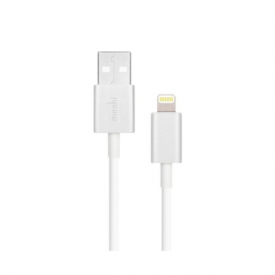 Moshi Lightning to USB Cable - USB кабел за iPhone X, iPhone 8, iPhone 7, iPad, iPod с Lightning (100 см) (бял)