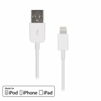 Artwizz Lightning to USB Cable - USB кабел за iPhone 5, iPhone 5S, iPhone SE, iPhone 5C, iPod Touch 5, iPod Nano 7, iPad 4 и iPad Mini, iPad mini 2, iPad mini 3 (бял)