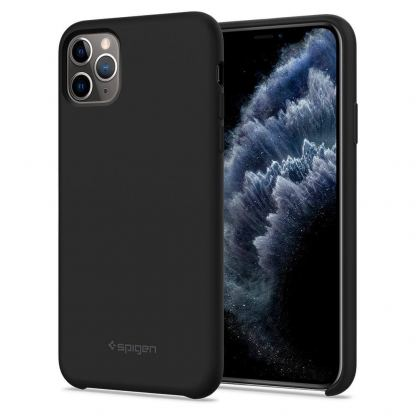 Spigen Silicone Fit Case - силиконов (TPU) калъф за iPhone 11 Pro Max (черен)