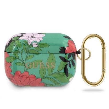 Guess Airpods Pro Silicone Case Flower Collection No.1 - силиконов калъф с карабинер за Apple Airpods Pro (зелен)