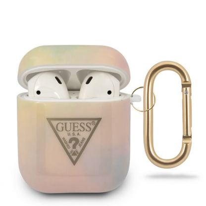 Guess Airpods Silicone Case Tie & Dye No.1 - силиконов калъф с карабинер за Apple Airpods и Apple Airpods 2 (розов)