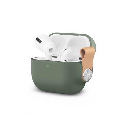 Moshi Pebbo Detachable Wrist Strap Case - силиконов кейс с каишка за Apple Airpods Pro (зелен)