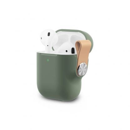 Moshi Pebbo Detachable Wrist Strap Case - силиконов кейс с каишка за Apple Airpods и Apple Airpods 2 (зелен)