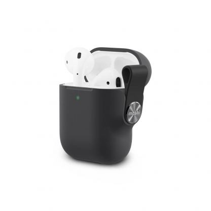 Moshi Pebbo Detachable Wrist Strap Case - силиконов кейс с каишка за Apple Airpods и Apple Airpods 2 (черен)