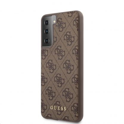 Guess 4G Charms Collection Hard Case - дизайнерски кожен кейс за Samsung Galaxy S21 Plus (кафяв)