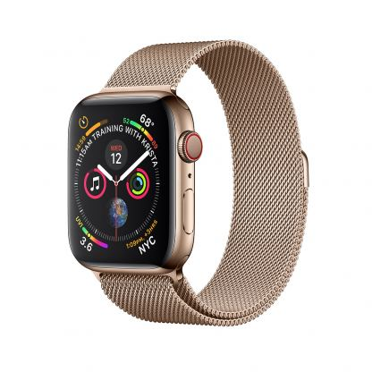 Apple Watch Series 4, 44mm Gold Stainless Steel Case with Milanese Loop, GPS + Cellular - умен часовник от Apple