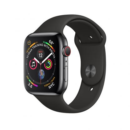 Apple Watch Series 4, 40mm Space Black Stainless Steel Case with Black Sport Band, GPS + Cellular - умен часовник от Apple