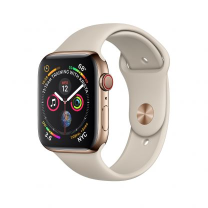 Apple Watch Series 4, 44mm Gold Stainless Steel Case with Stone Sport Band, GPS + Cellular - умен часовник от Apple