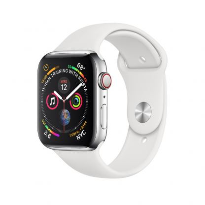 Apple Watch Series 4, 44mm Stainless Steel Case with White Sport Band, GPS + Cellular - умен часовник от Apple