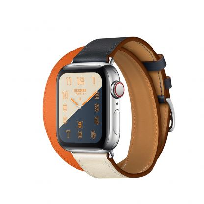Apple Watch Hermès Series 4, 40mm Stainless Steel Case with Indigo/Orange Swift Leather Double Tour, GPS + Cellular - умен часовник от Apple