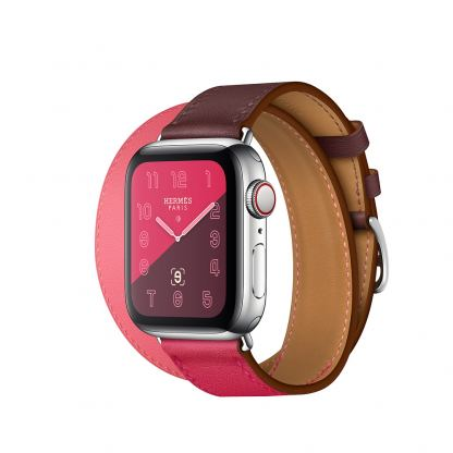Apple Watch Hermès Series 4, 40mm Stainless Steel Case with Bordeaux/Rose Swift Leather Double Tour, GPS + Cellular - умен часовник от Apple