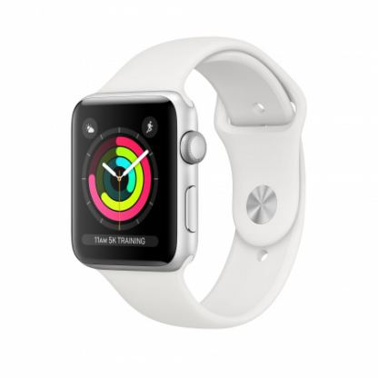Apple Watch Series 3, 38mm Silver Aluminum Case with White Sport Band - умен часовник от Apple